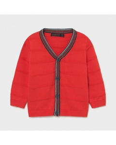 Mayoral Boys Red Cardigan Knitted Dressy Striped Trim Size 6m-36m | Toddler Sweaters 1343 Red