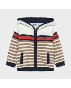 Mayoral Boys Knit Cardigan White & Tan & Navy Stripe Hooded Size 6m-24m | Sweaters For Babies 1344 Stripe