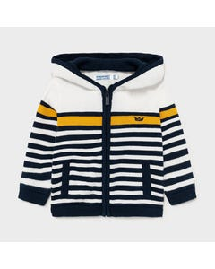Mayoral Boys Knit Cardigan White & Navy & Yellow Stripe Hooded Size 6m-24m | Baby Sweaters 1344 Stripe
