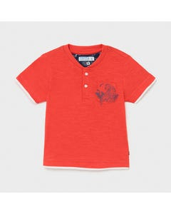 Mayoral Boys Henley T Shirt Red Tiger Print Short Sleeve Size 6m-24m   Baby T Shirts 1004 Red