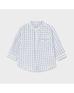 Mayoral Boys Shirt White & Navy Check Linen Long Sleeve Size 6m-24m   Toddler T Shirts 1119 Check