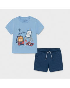 Mayoral Boys 2 Pc Short Set Blue & Navy Play Print Size 6m-24m | Two Piece Outfits For Babies 1671 Blue