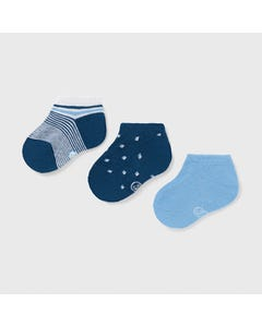 Mayoral Boys 3 Pc Sock Set Blue Light & Dark & Striped Short Size 6m-24m | Kids Socks 10009 Blue