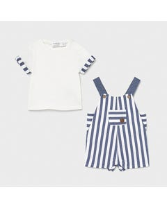 Mayoral Boys 2 Pc Overall & Tshirt White & Blue Stripe Short Size 0m-18m | Two Piece Sets For Babies 1654 Stripe