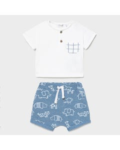 Mayoral Boys 2 Pc Tshirt & Short White Henley & Blue Animal Print Size 0m-18m | Baby Two Piece Dresses 1645 White