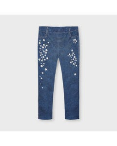 Mayoral Girls Legging Long Medium Blue White Flower Print Size 2-9 | Toddler Leggings 3733 Blue