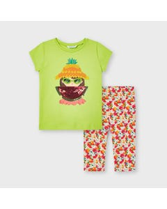 Mayoral Girls 2 Pc Top & Legging Green & Watermelon Print Legging Size 2-9 | Girls Two Piece Outfits 3741 Green
