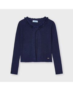 Mayoral Girls Knit Cardigan Navy Lurex Ribbed Size 2-9 | Sweater For Girl Online Shopping 3525 Navy