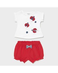 Mayoral Girls 2 Pc Short Set White Top Red Shorts Ladybug Applique Size 1m-18m | Two Piece Sets For Babies 1620 White