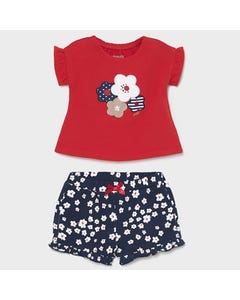 Mayoral Girls 2 Pc Short Set Red Top & Navy Floral Shorts  Size 1m-18m | Baby Co Ord Sets 1620 Red