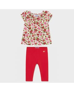 Mayoral Girls 2 Pc Top & Legging White & Red Floral Top & Red Legging Size 6m-36m | 2 Piece Sets For Babies 703 1089 Multi