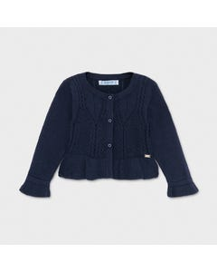 Mayoral Girls Knit Cardigan Navy Cable Stitch Size 6m-36m | Sweaters For Babies 1335 Navy