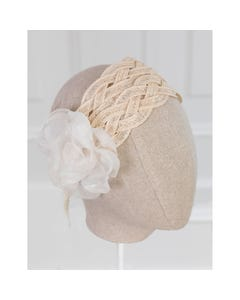Abel & Lula Girls Raffia Headdress Cream Chiffon Flower Applique Size OS | Toddlers Hair Accessories 5457 Cream