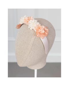 Abel & Lula Girls Headband Peach & White Flowers Trim Size OS | Childrens Hair Accessories 5454 Blush
