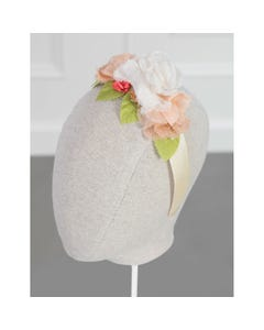 Abel & Lula Girls Headband Peach & Cream Ribbed Flower Trim Size OS   Hair Accessories For Toddlers 5456 Blush