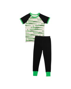 Deux par Deux Boys 2 Pc Pajamas Green Crocodile Print & Black Pant Size 12m-12 | Kids Sleepers C30PB10 Multi