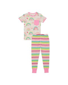 Deux par Deux Girls 2 Pc Pajamas Grey With Rainbow Print & Pink Pocket Striped Pant Size 12m-12 | Sleepers Kids C30PG10 Multi