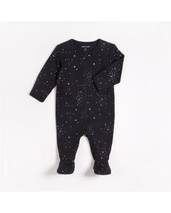 Petit Lem Unisex Sleeper Black White Star Print Zip Front Closure Size NB-12m | Toddler Pyjamas L04012 Black