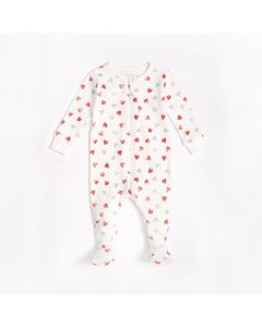 Petit Lem Unisex Sleeper Off White Red & Grey Hearts Print Zip Front Closure Size NB-18m | Pyjamas For Babies S21040 White