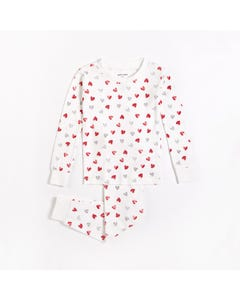 Petit Lem Unisex 2 Pc Pyjama Off White Grey & Red Heart Print Size 12m-6x | Kids Pyjamas S21454B White