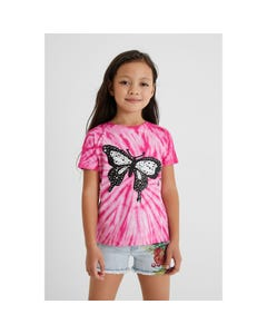 Desigual Girls T Shirt Fuschia Sequin Black Butterfly Reversible Sequins Size 4-14 | Girls Shirts GTK36 Fuschia