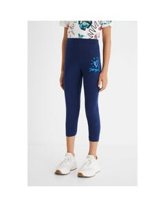 Desigual Girls Leggings Navy Short Heart & Logo Embroidery & Logo Short Size S-XL | Baby Leggings GKK04 Navy