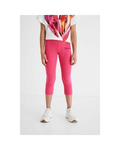 Desigual Girls Leggings Fuschia Short Heart & Logo Embroidery Size S-XL | Childrens Leggings GKK04 Fuschia