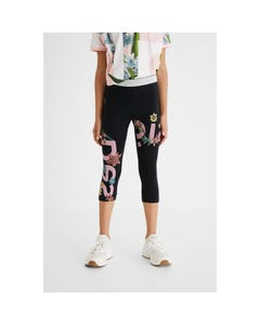 Desigual Girls Leggings Black Short Pink Logo Silver Waistband & Flower Print Size S-XL | Kids Leggings GKK02 Black