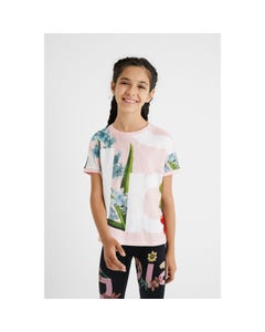 Desigual Girls Tshirt Pink & White With Green Flower Print Short Sleeve Size 4-14 | Girls Designer Shirts GTK30 Pink