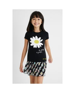 Desigual Girls Tshirt Black White Sequin Flower Short Sleeve Size 4-14 | Girls School Shirts GTK28 Black