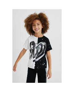 Desigual Girls Tshirt White & Black Panels Heart Print Short Sleeve Size 4-14 | Shirts For Girls GTK11 White