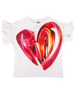 Desigual Girls T Shirt White Red Heart Print Short Sleeve With Ruffle Trim Size 4-14 | Girls Shirts GTK10 White