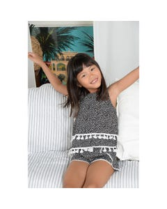 Mini Molly Girls Top Black & White Print Spaghetti Straps White Tassels Trim 2 Tiered Size 6-14 | Baby Girl Shirts G536 Black