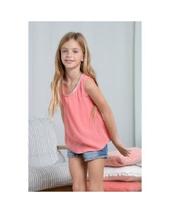Mini Molly Girls Tank Top Coral Pink Silver Neckline Trim Size 6-14 | Girls School Shirts G540 Pink