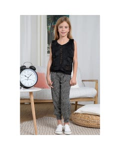 Mini Molly Girls Top Black Lace & Pleated Front Panels Sleeveless Size 6-14 | Baby Girl Shirts R1476 Black