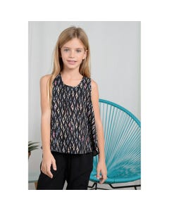 Mini Molly Girls Top Black Batik Print Sleeveless Size 6-14 | Baby Girl Shirts R1574 Black