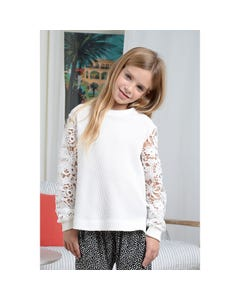 Mini Molly Girls Sweater White Knit Lace Cutout Long Sleeve Size 6-14 | Baby Girl Sweaters T1180 White