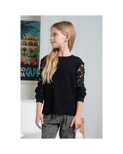 Mini Molly Girls Sweater Black Knit Lace Cutout Long Sleeve Size 6-14 | Baby Girl Sweaters T1180 Black