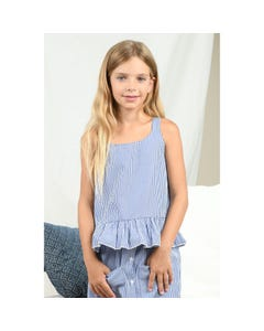 Mini Molly Girls Top Blue & White Stripe Straps & Pleated Flounce Hem Size 6-14 | Shirts For Girls T152 Stripe