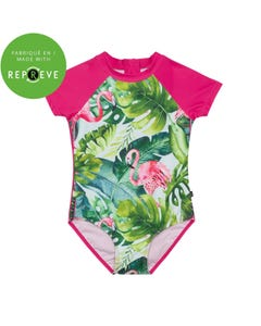 Deux par Deux Girls Swimsuit Pink & Green Flamingo & Jungle Print Size 2-12 | Kids Swimwear 30M11 Pink