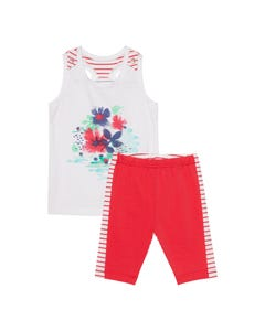 Deux par Deux Girls 2 Pc Tank & Biker Short White & Red Stripe Organic Cotton Size 3-12 | Girls Two Piece Outfits 30G13 White