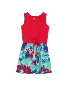 Deux par Deux Girls Dress Red & Blue Bird Printed Skirt Sleeveless Size 3-12 | Girls Dresses 30G92 Red
