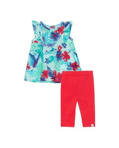 Deux par Deux Girls 2Pc Tunic & Capri Set Blue Printed Top & Red Capri Sleeveless Size 6m-4 | Girls Two Piece Outfits 30GG11 Blue