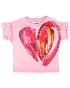 Desigual Girls Tshirt Pink Red Heart Print Short Sleeve Budapest Size 4-14 | Shirts For Girls GTK10 Pink