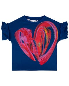 Desigual Girls Tshirt Navy Red Heart Print Short Sleeve Budapest Size 4-14 | Girls Shirts GTK10 Navy