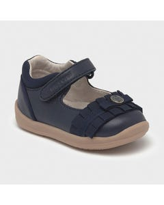 Mayoral Girls Shoe Navy Leather Ballerina Flat Walking Shoe Pleated Trim Size 19-23 | Kids Trainers 41236 Navy