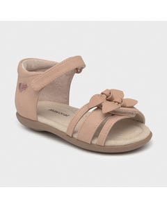 Mayoral Girls Sandal Blush 2 Bows Trim Velcro Closure Leather Insole Size 20-25 | Sandals For Toddlers 41268 Pink