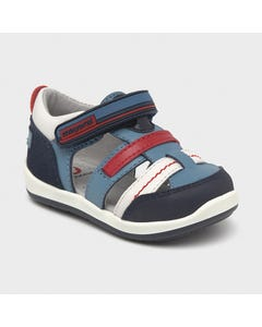 Mayoral Boys Sport Sandal Light Blue Walking Shoe Navy Red Trim Size 19-23 | Toddler Sandals 41280 Blue