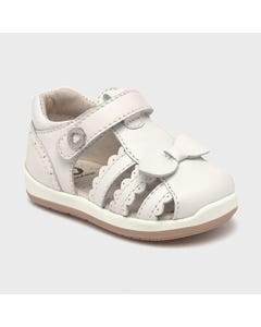 Mayoral Girls Sandal White Walking Shoe Scalloped Edge Size 19-23 | Sandals For Babies 41238 White