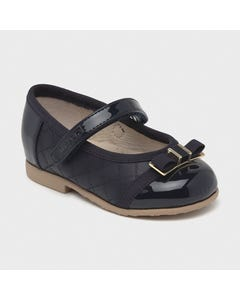 Mayoral Girls Shoe Navy Ballet Flats Leather Bow Trim Size 20-25 | Baby Dress Shoes 41252 Navy